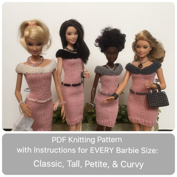 Barbie Doll Knitting Pattern for Knitted Dress with Belt ALL
