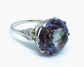 1930s ring - Lab created Alexandrite centre stone, European cut diamonds on shoulders.