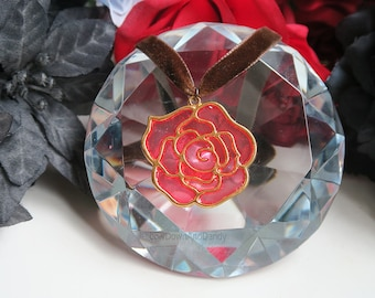 Rose Stained Glass Pendant