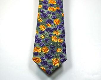 Rose Necktie, Mens Necktie, Custom Neckties, Purple Rose Neckties, Purple and Gold Rose Necktie, Purple Necktie, Mens Neckties