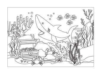 DIGITAL FILE Shark Ocean Party Coloring Wall Poster 72x48 Inches