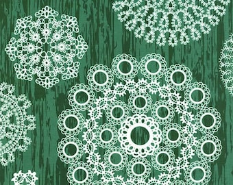 Fabric by the Yard- Knots & Loops in Green-Christmas at Brambleberry Ridge by Violet Craft for Micheal Miller
