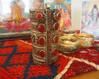 Beautiful Huge Heavy Vintage Afghan Hippie Boho Kuchi Ethnic Tribal Banjara Festival Indie Cuff Bracelet