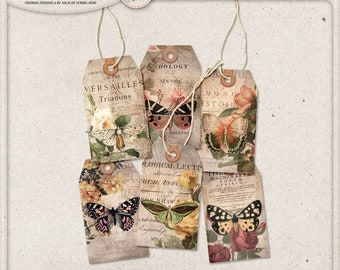 Gift Tags, Bohemian Style, Women Butterfly Gift, Digital Collage Sheet, Instant Download, Printable Hang Tags with Leather Reinforcement