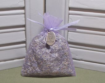 """Party favor, lavender sachet, dried lavender, wedding, bridal shower, engagement, To Love and Cherish charm, 3"""" by 4"""" lavender organza bag"""
