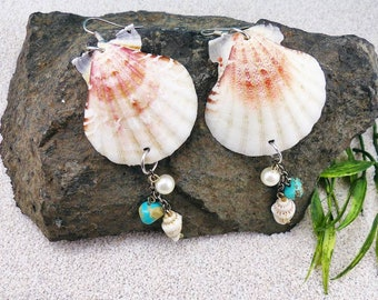 Seashell jewelry, seashell earrings, mermaid accessories, mermaid jewelry, mermaid earrings, beach jewelery, beach earrings, aquatic jewelry