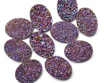 Purple Druzy, Druzy Cabochon, 18x13mm Oval Shaped Druzy, Cabochon, Druzy Stone, Jewelry Making Supplies (PZ-80017)