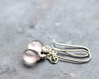 Rose Quartz Earrings Dangle Pink Gemstone Earrings Sterling Silver Wire Wrapped