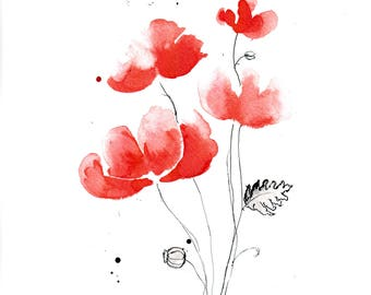 Poppy painting 8x12in, A4 on PAPER