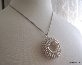 Silver Chainmail Sunburst Necklace, Sterling Silver Necklace, 16 inch Silver Chain, Silver Chainmaille Necklace