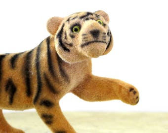 Vintage Kunstlerschutz Tiger Flocked Animal Wagner West Germany Rare Wild Cat
