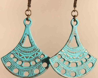 Turquoise Earrings Boho Earrings Dangle Drop Earrings Patina Boho Jewelry Bohemian Earrings Ethnic earrings Art Deco Earrings Gift for women