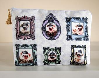 Hedgehog zip bag,Hedgehog makeup bag,Hedgehog cosmetic bag,Hedgehog toiletry bag,Mothers day gift, Hedgehog gift,Gift for her,Victorian