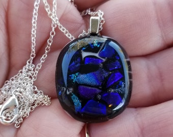Blue/purple glass fused ontowhite base with chain