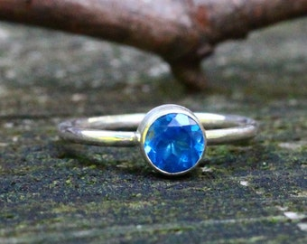 Ice blue topaz sterling silver ring
