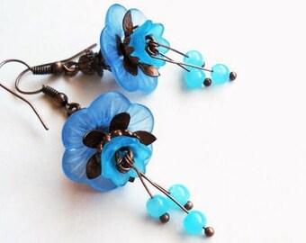 Flower Earrings Blue Jewelry Long Earrings Floral Jewelry Blue Earrings Bridesmaid Gift Copper Earrings Statement Jewelry Dangle Earrings