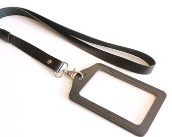 Leather lanyard, id badge lanyard, cute lanyard, id badge,  lanyard with faux leather id holder, leather keychain, key holder, ID holder