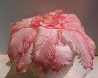1960s Vintage Fascinator Pale and Deep Pink Veil