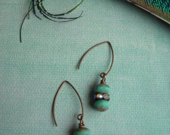 TESSA ~Turquoise Picasso Rondelle with Antiqued Brass Earrings