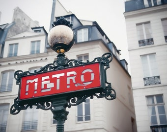 Paris photography - Metro Sign - French photo - Fine art travel photography  - urban hip Wall Art - red, black, ivory - Valentine