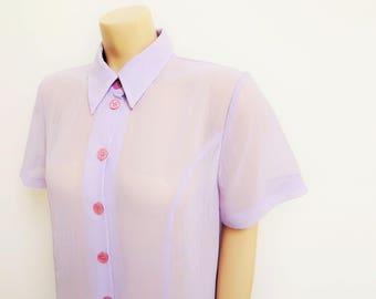 Lilac Maxi Dress, UK14, Vintage Clothing, Ladies Dresses, Shirt Dress, Boho Clothing, Purple Maxi Dress, Sheer Maxi Dress, Clothing