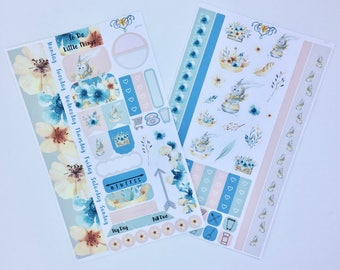 Easter bunny planner stickers, Weekly Planner Kit, floral rabbit Personal planner supplies, personal planner accessories, stickers