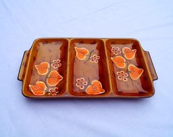 Ceramic Poet-Laval, 70's serving dish, vintage. Brown, orange, decoration, table art.