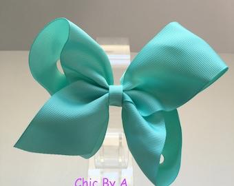 "6"" Green Hair Bow,Lucite Seafoam Green,boutique hair bows, girls hair bows, ribbon hair bows, sea blue green"