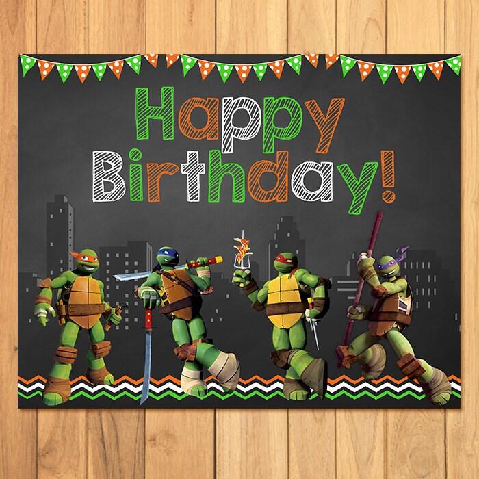 Teenage Mutant Ninja Turtles Birthday Sign Chalkboard TMNT