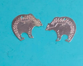 Sterling Silver Etched Finding Bears oh my Earring Findings 30 gauge comfortable Light Weight 0.75inch x 0.625 inch 925 silver unfinished