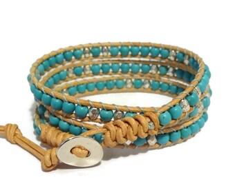 Turquoise Bracelet, Turquoise Wrap Bracelet, Turquoise Jewelry, Leather Wrap Bracelet, Beaded Leather Bracelet, Bohemian Bracelet, Gift