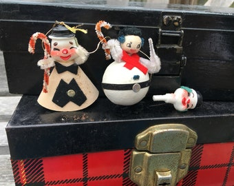 Vintage Christmas Ornaments, Snowman, Cardboard, Pipe cleaner, Japan