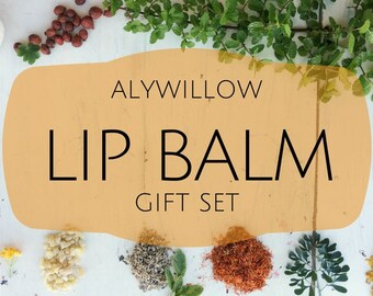 LIPBALM Gift Set || made of pure plants, organic beeswax, including argan oil, sunflower oil, coconut oil, and more || Powerful Moisture