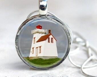 Canada Lighthouse Pendant - Rustico Prince Edward Island Lighthouse Necklace - Round Silver - Nautical