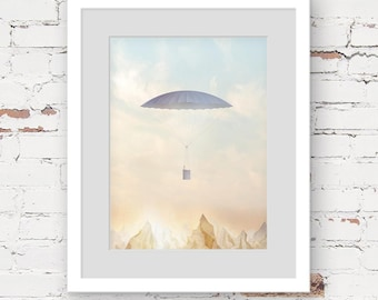 neutral kids decor, magical nursery art, vintage balloon nursery art, kids art print adventure, mountain kids art, kids vertical art print