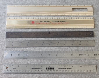 "Vintage Metal 12"" Rulers - Lot of 5, Vintage Metal Rulers"
