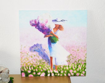 impressionism/ oil painting/ girl with flowers/ painting/ flowers