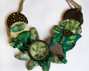 BE NATURAL OOAK choker of leather necklace leaves print green butterfly