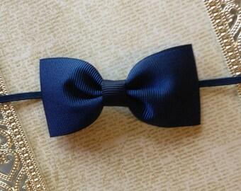 Baby Headband - Baby Bow Headband - Navy Blue Baby Headband - Newborn Headband - Navy Blue Bow Headband -Bow Headband- Blue Baby Headband