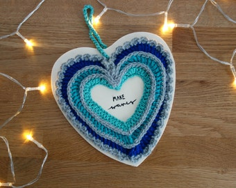 Handmade crochet heart plaque
