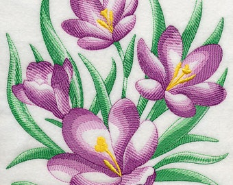 Personalised Embroidered Crocus Flower Floral White Cotton Kitchen tea Towel