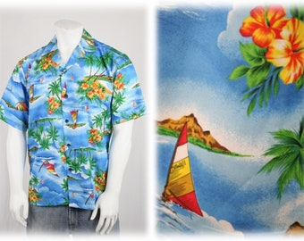 Vintage Hawaiian Shirt Windsurfing and Palm Trees by Seawind Medium