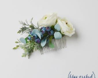 Flower hair comb succulent hair comb succulent hair pin flower comb floral comb silk flower comb artificial flower comb blue boho flower comb boho bridal hair comb flower hair comb mightylinksfo