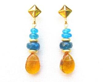 Blue Apatite & Citrine Earrings ~ 14k gp Post Backs ~ Handmade with Natural Gemstones