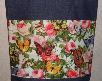 New Large Handmade Butterfly Rose Garden Denim Tote Bag