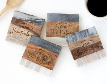 Marble and wood Engraved Coaster Set, Marble Coasters, Engraved Coasters, Personalized Coaster Set, Custom Coaster Set, Custom Wedding Gift