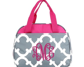 4 Colors Monogrammed Lunchbox, Personalized Lunch bag, Gray Lunch Box, Lunchbox for kids, Quatrefoil Lunchbox, Teal Lunchbox, Pink Lunchbox