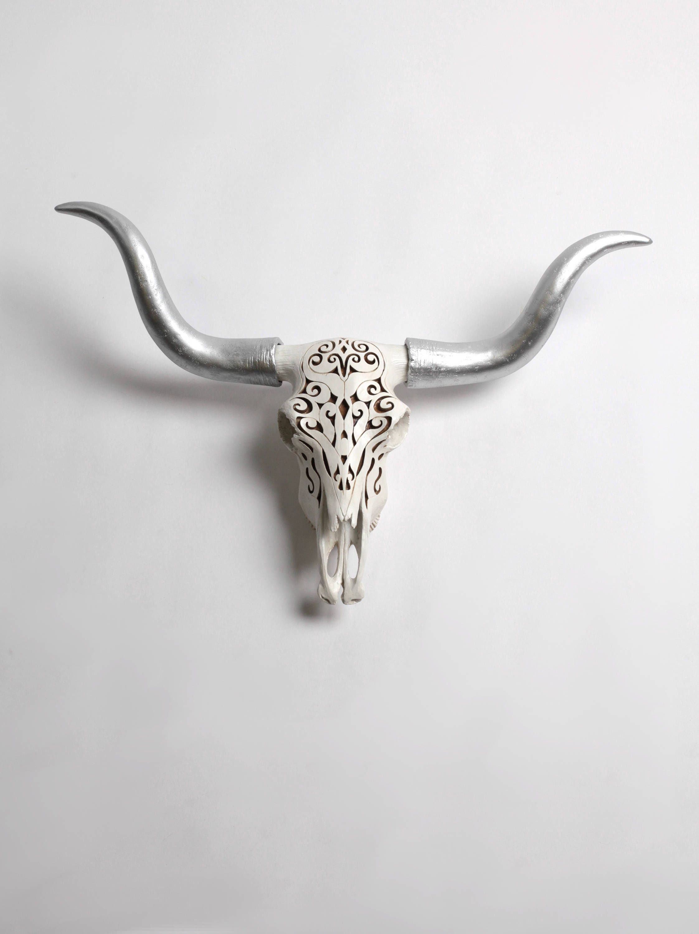 Filigree Longhorn Cow Skull By White Faux Taxidermy Large