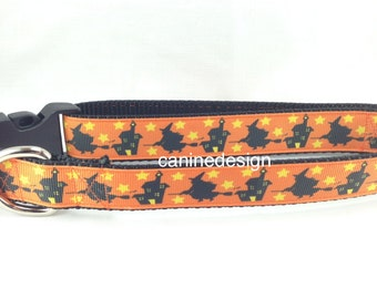 Halloween Dog Collar, Witch House Collar 1 inch wide, adjustable, quick release, metal buckle, martingale, chain, hybrid, nylon