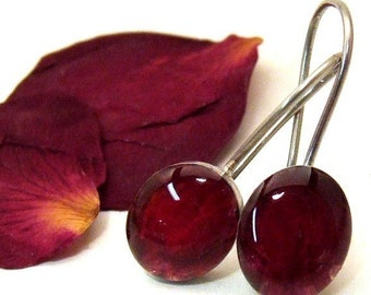 Oval RED ROSE Flower Petal Earrings - Resin and Sterling Silver on posts or wires - Handmade Nature Jewelry from the Captured Collection